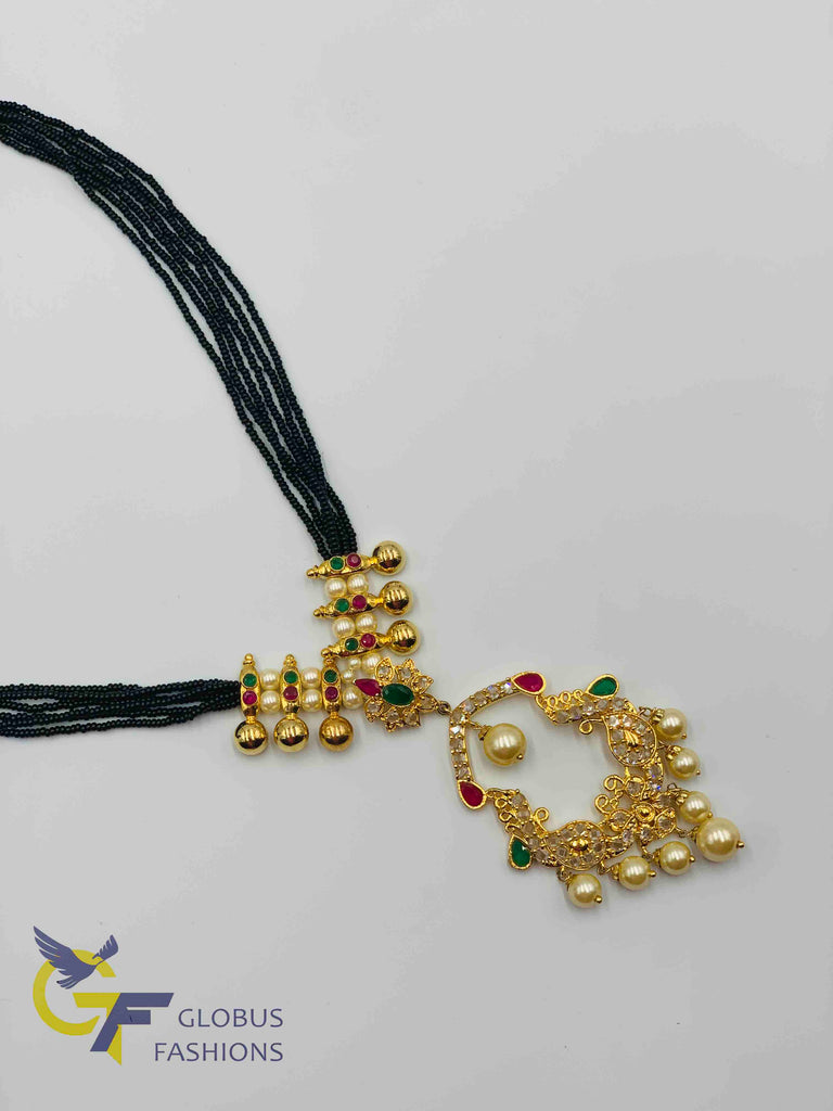 Bunch of small black beads chain with multicolor stones pendant