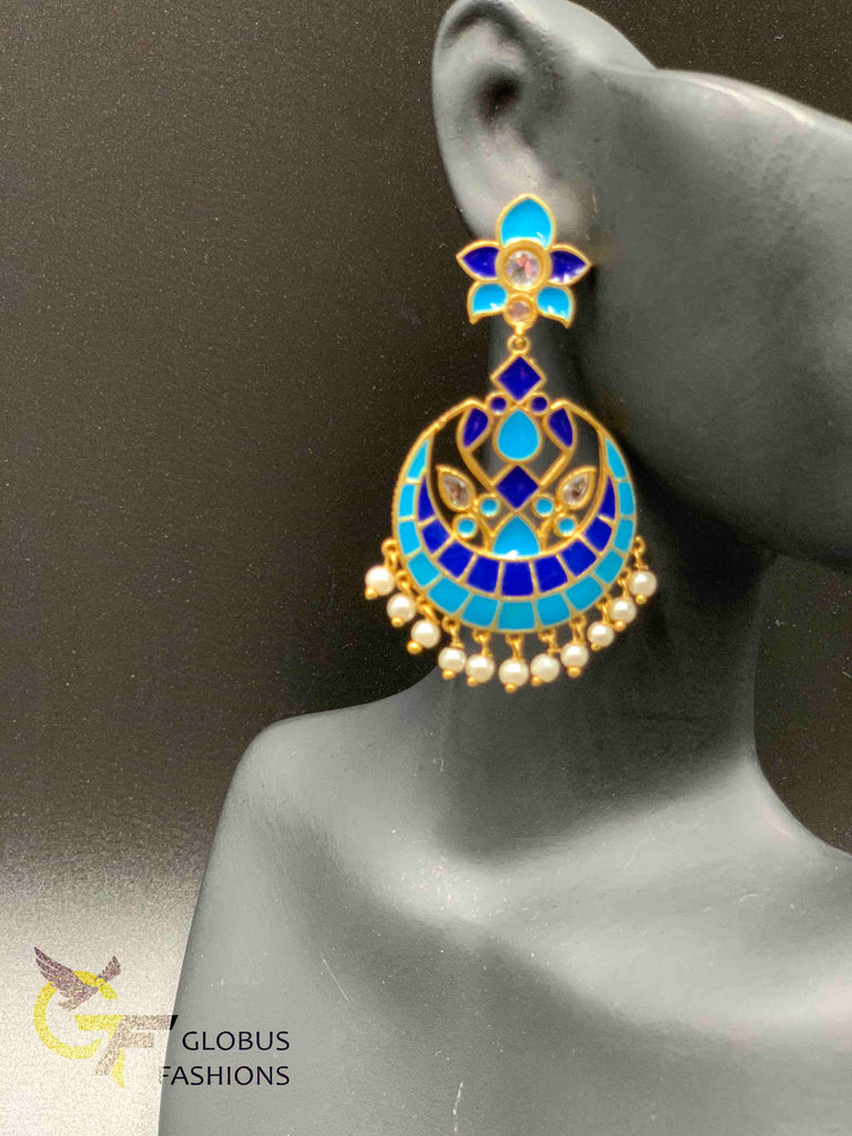 Hand painted enamel chandbali earrings