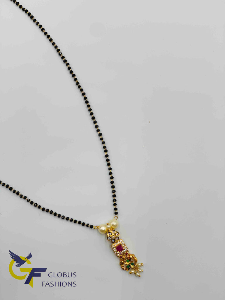 Simple peacock design with multicolor stones pendant with black diamond beads chain