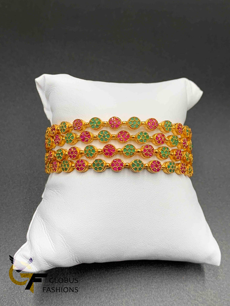 Multicolor stones set of four bangles