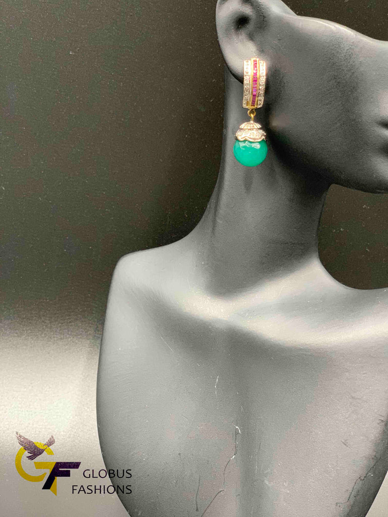 Cute cz stones with emerald stones earrings