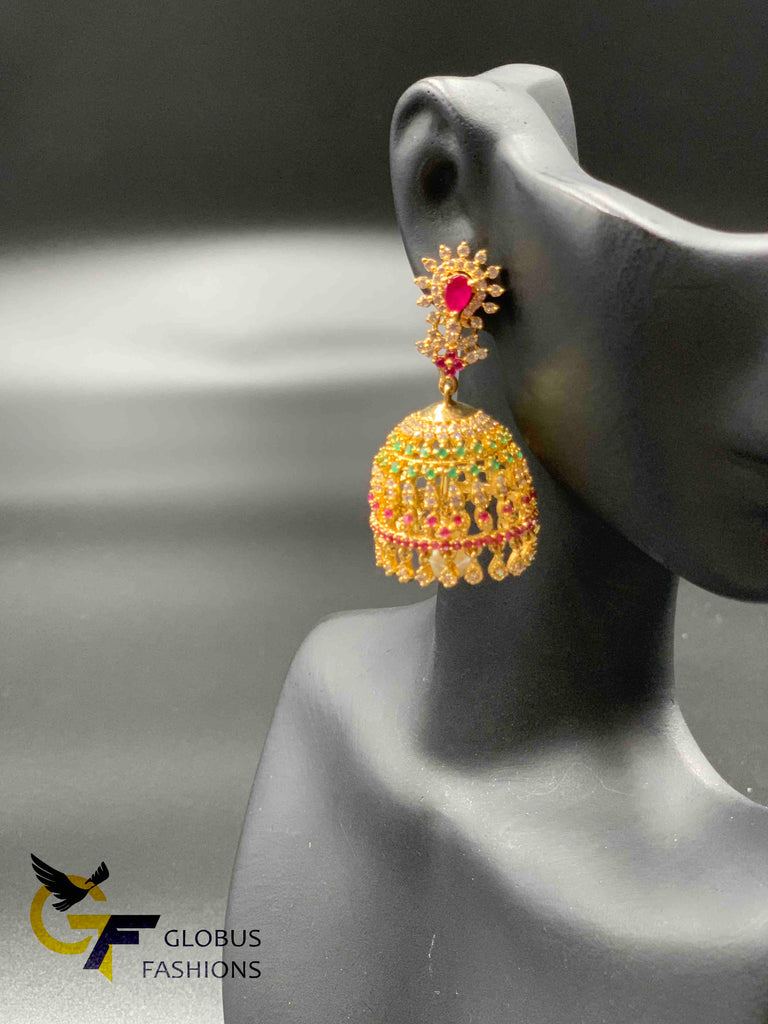 Multicolor stones with pearls jumka earrings