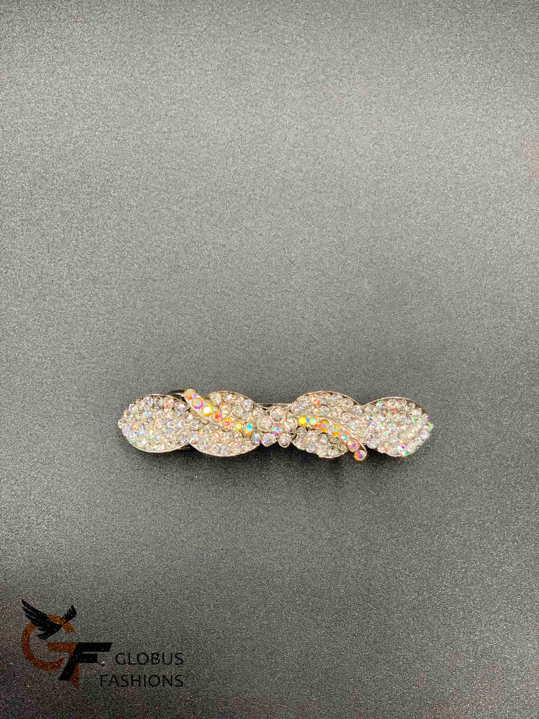 White color stones hair clip