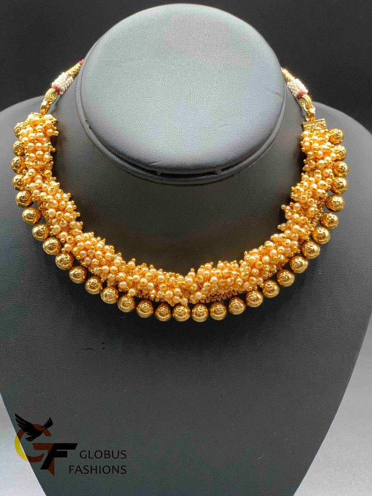 Traditional antique look pearls necklace with jumka earrings