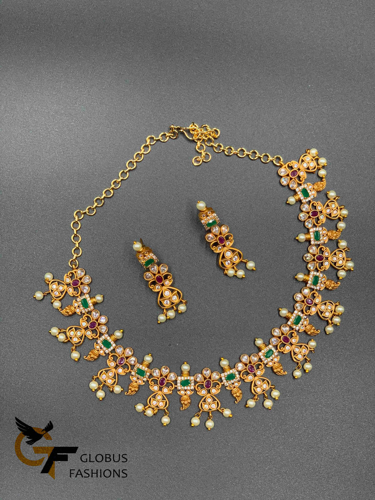 Antique finished necklace with multicolor stones and pearls