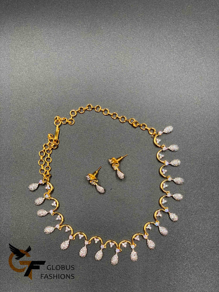 Silver and gold cz stones simple design necklace sets