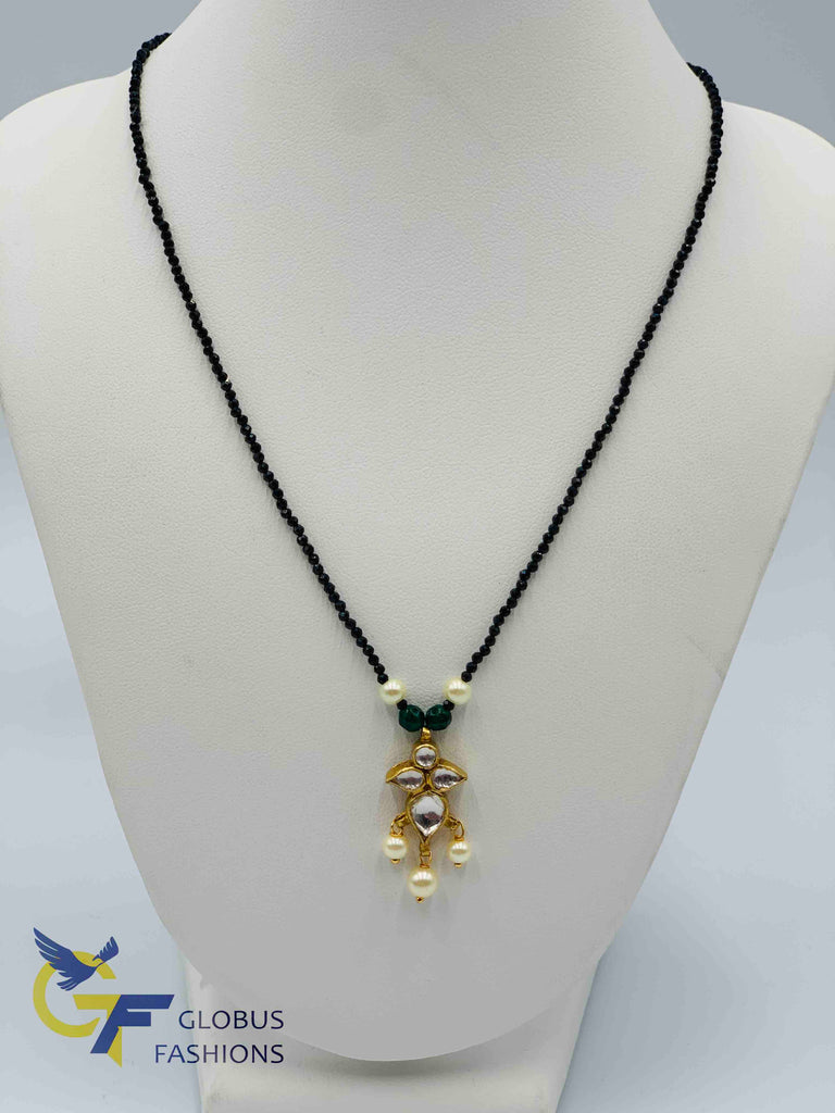 Single line black diamond beads chain with kundan stones pendant