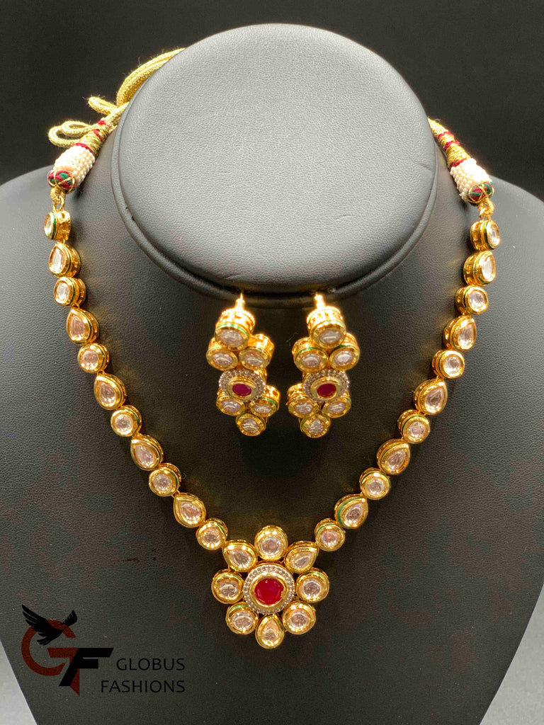 Flower stones Kundan stones with ruby stones necklace set