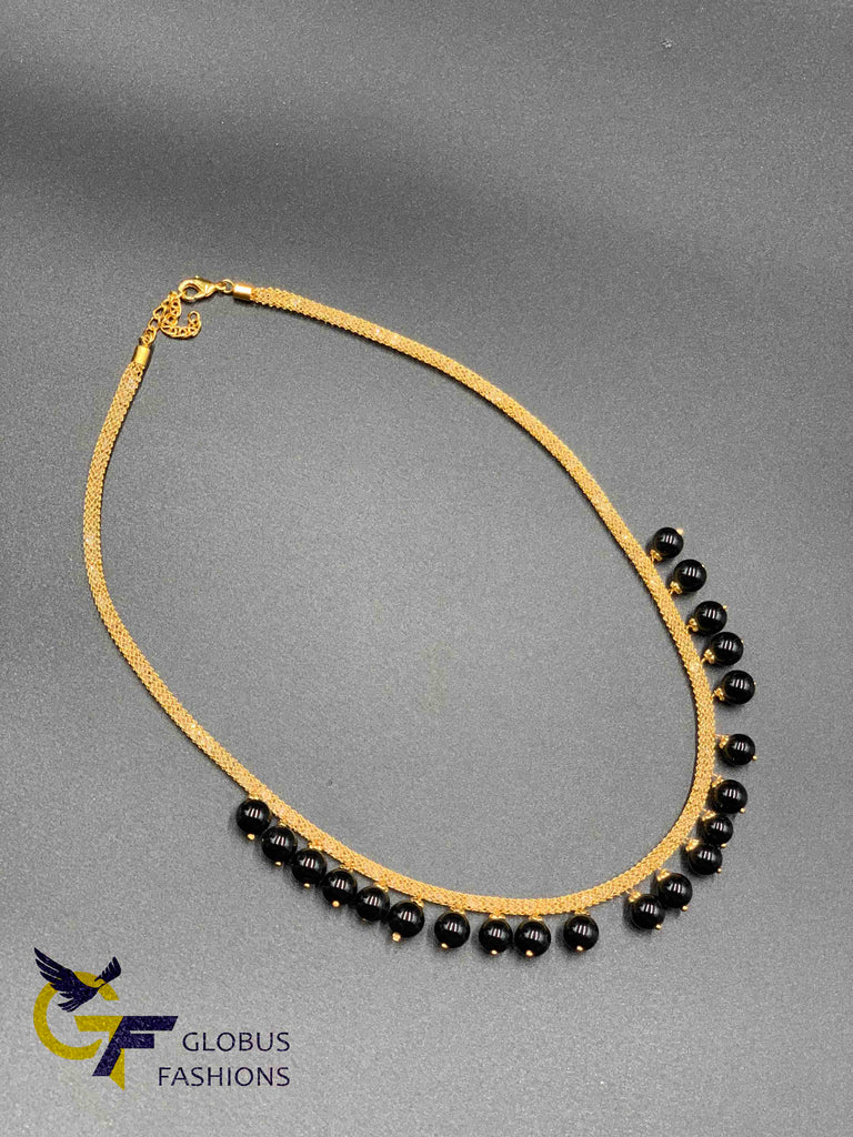 Cute thick cz stones mesh chain with black stone beads