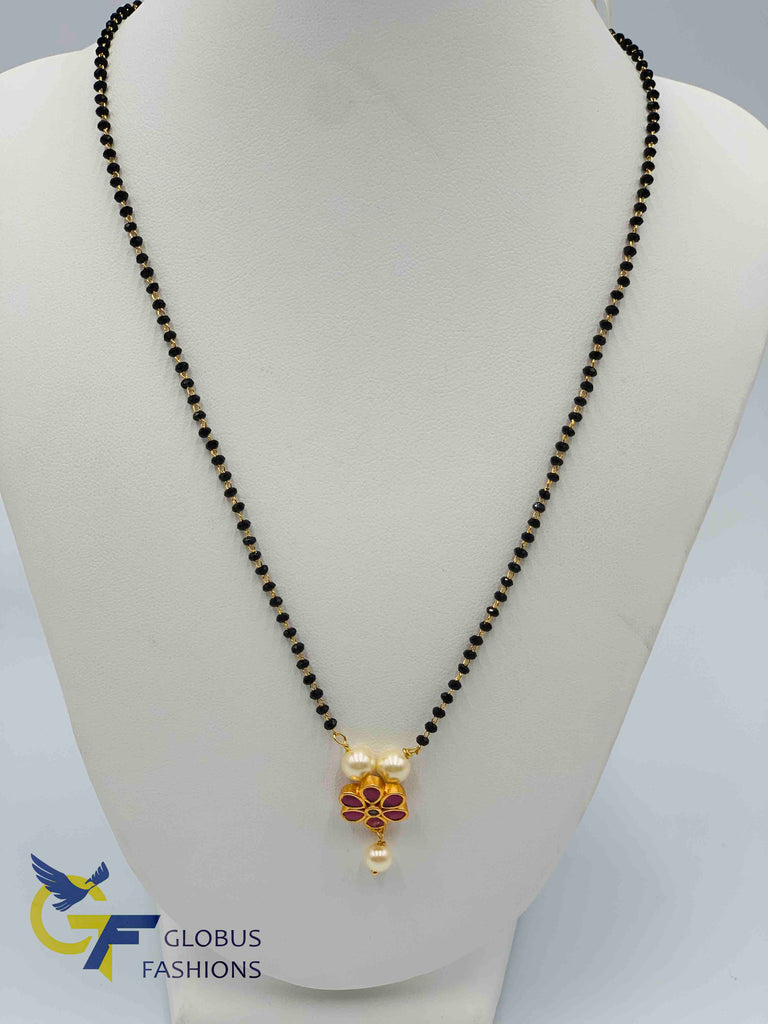 Ruby stones small pendant with single line black diamond beads with gold chain