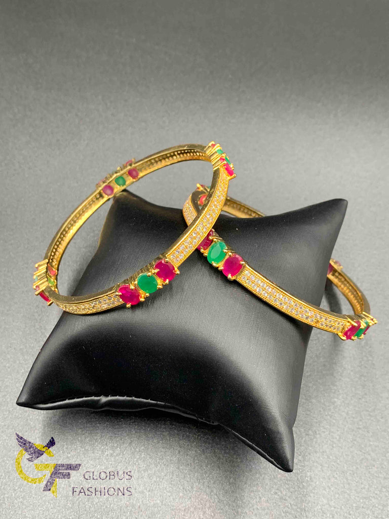 Multicolor stones set of two bangles