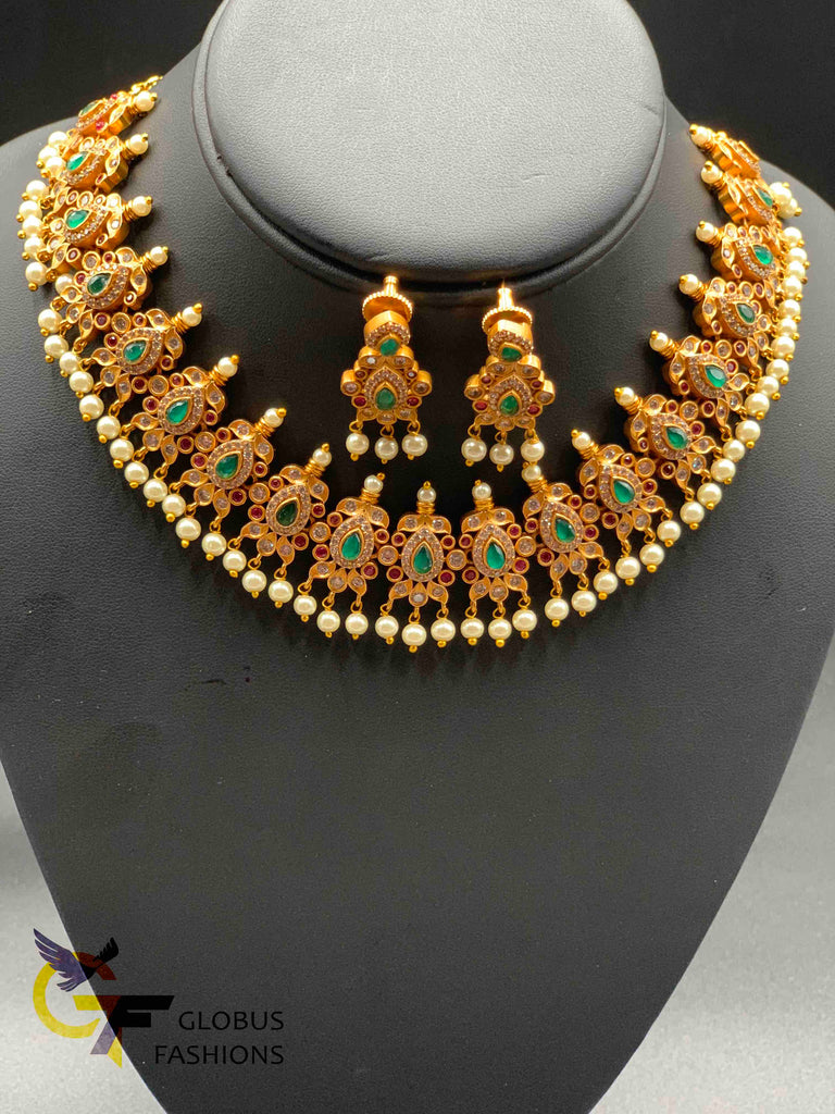 Multicolor stones with pearls antique necklace set