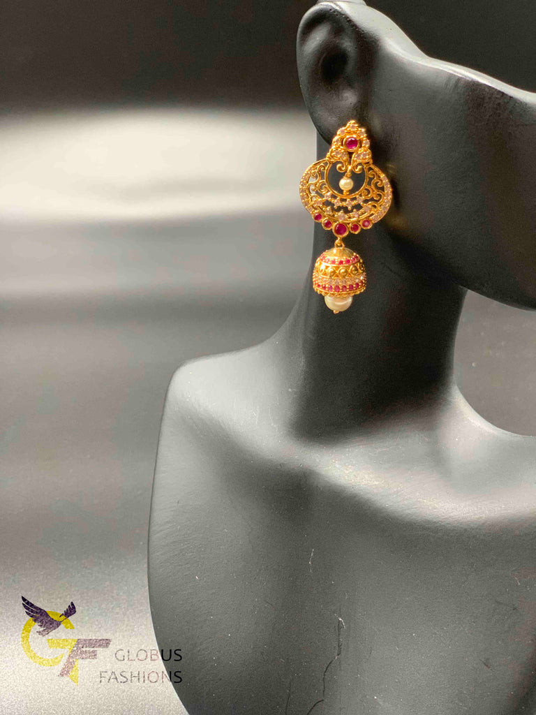 Cz stones and ruby stones with pearls chandbali jumka earrings