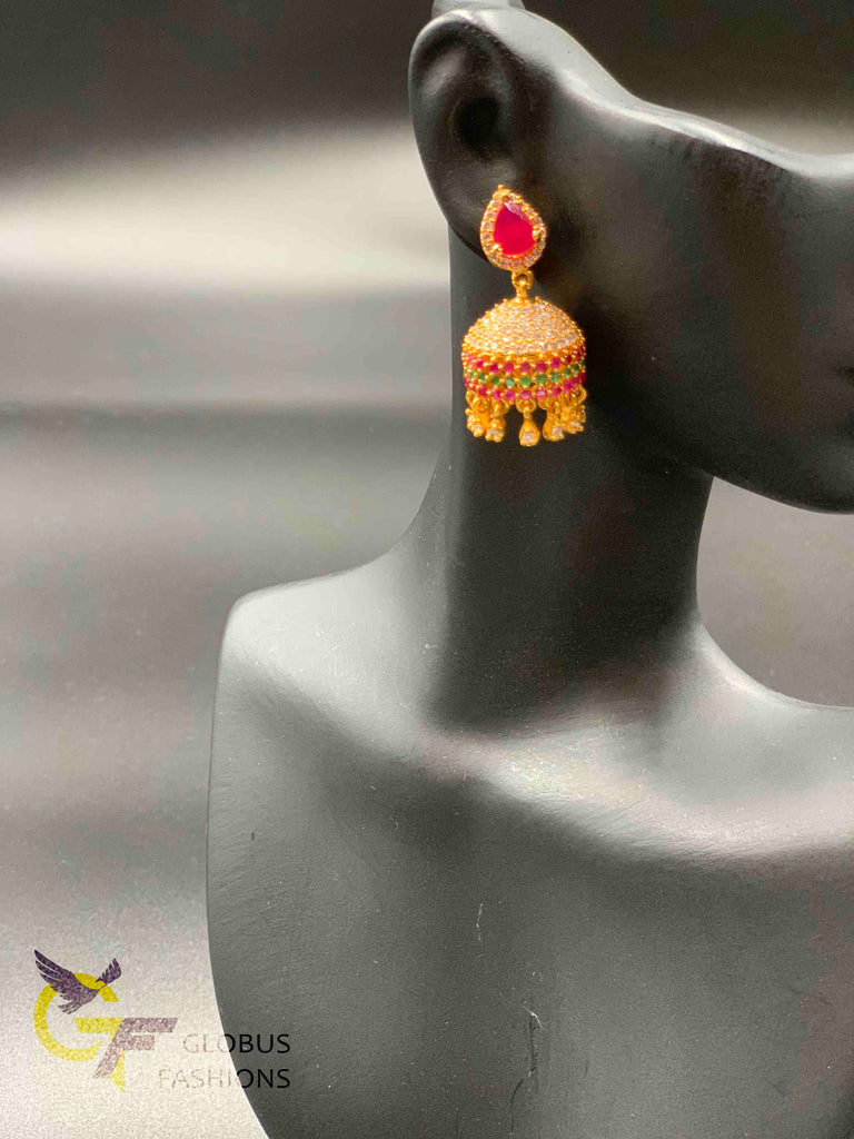 Multicolor stones and cz stones with ruby stones jumka earrings