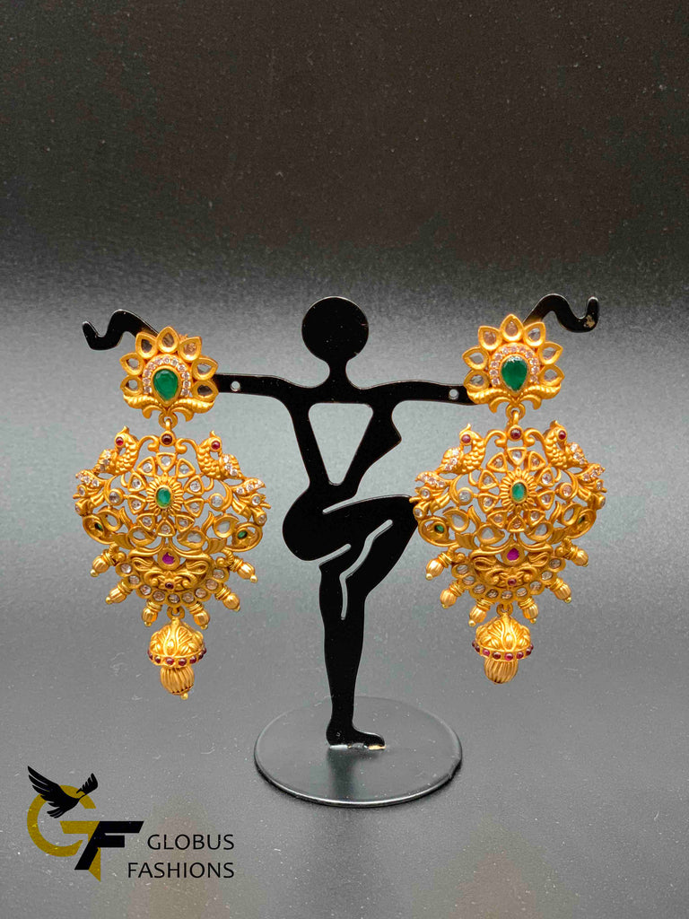 Antique look Peacock design uncut CZ stones with emerald stones chandbali earrings