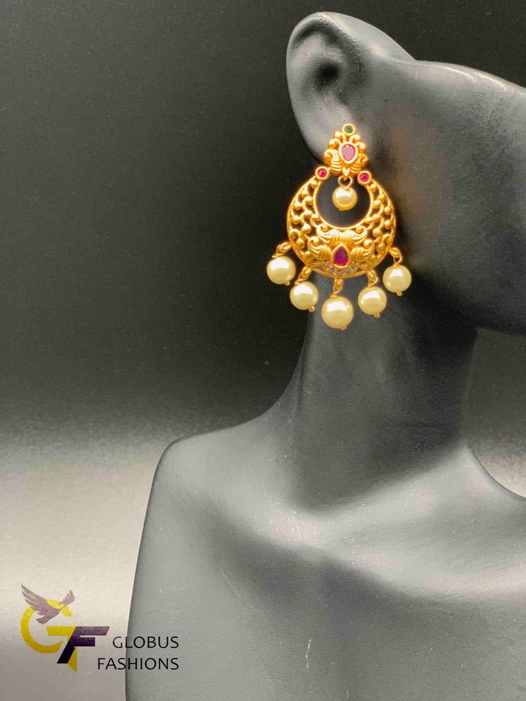 Ruby and pearls simple design antique chandbali earrings
