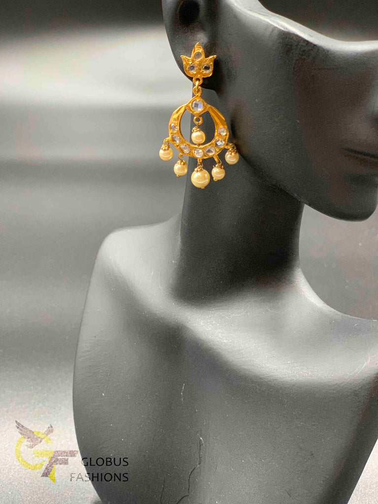 Cz stones with pearls traditional look chandbali earrings