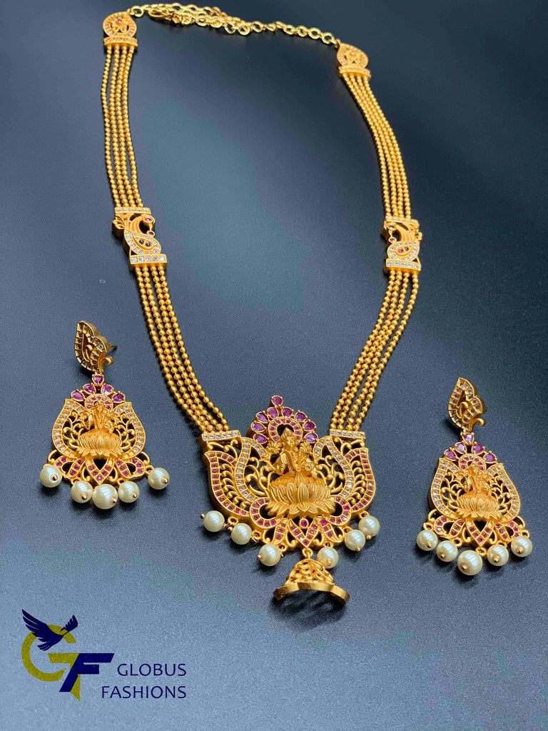 Traditional and antique Lakshmi print long necklace with matching earrings