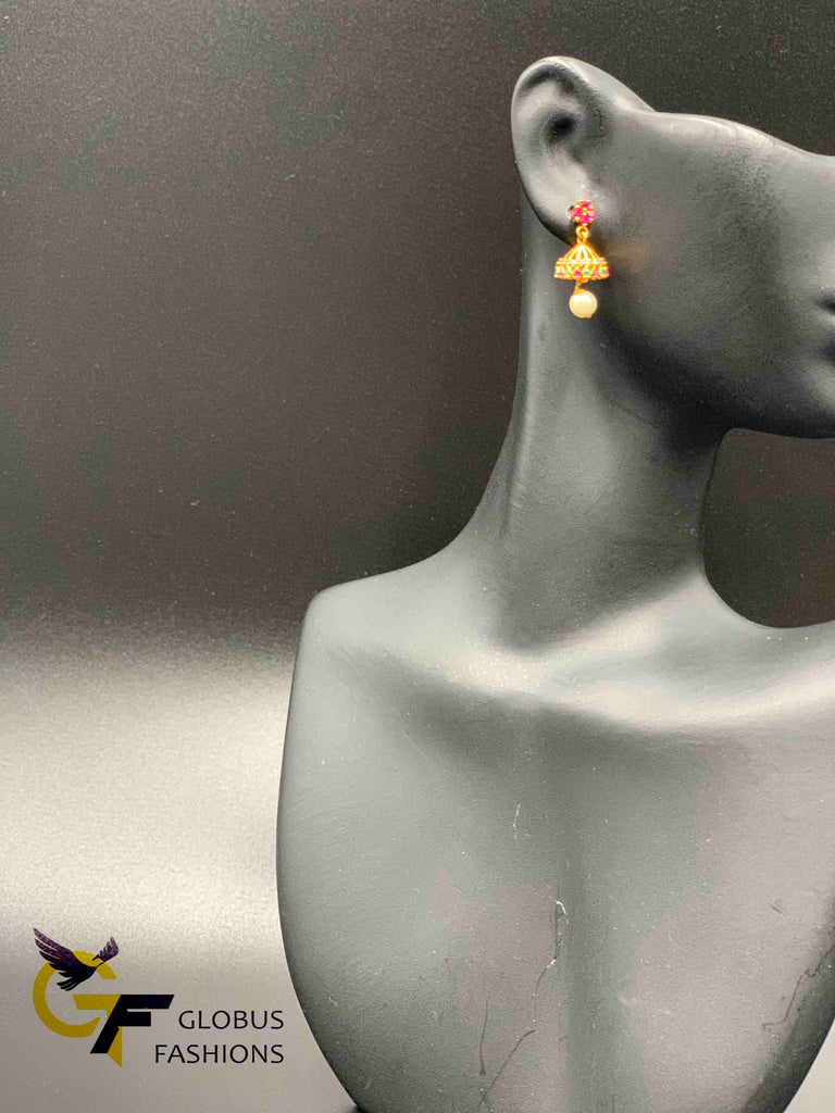Small multicolor stones with pearls jumka earrings
