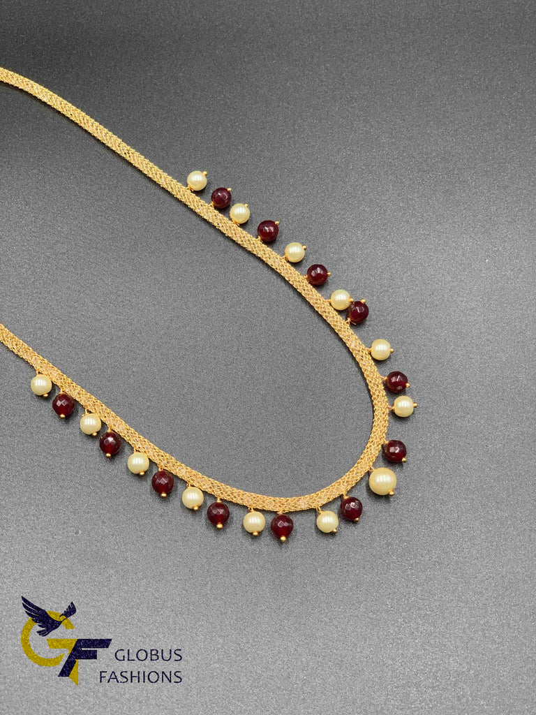 Cute cz stones mesh chain with ruby and pearls
