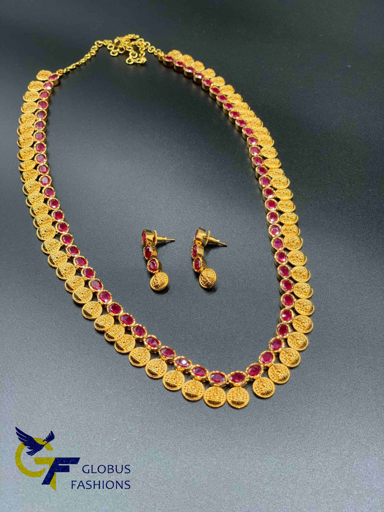 Traditional Lakshmi print coins with ruby stones long necklace set