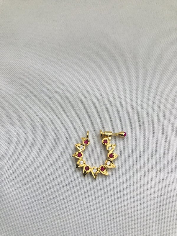 Ruby and cz stones nose ring - Globus Fashions