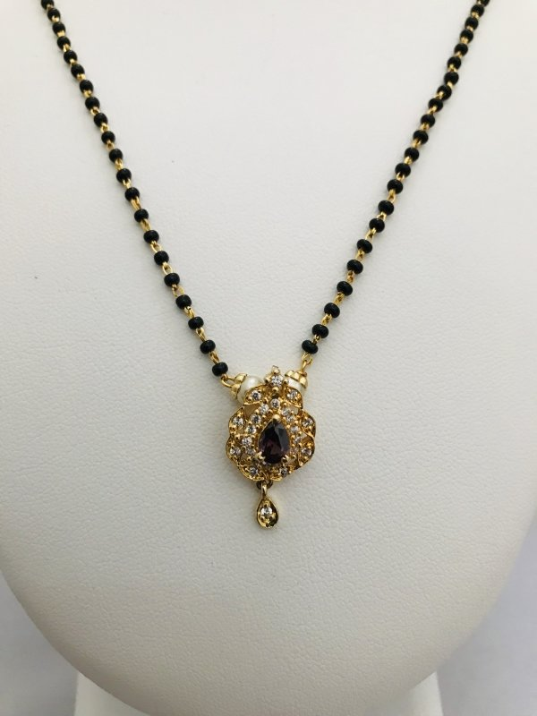 Simple single line black beads chain with small cz stones pendant - Globus Fashions