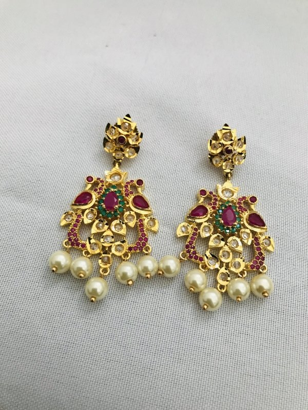 Traditional look peacock design multicolor stones with pearls pendant and earrings - Globus Fashions