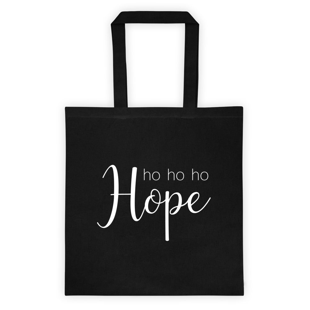 black tote bag with ho ho hope in script