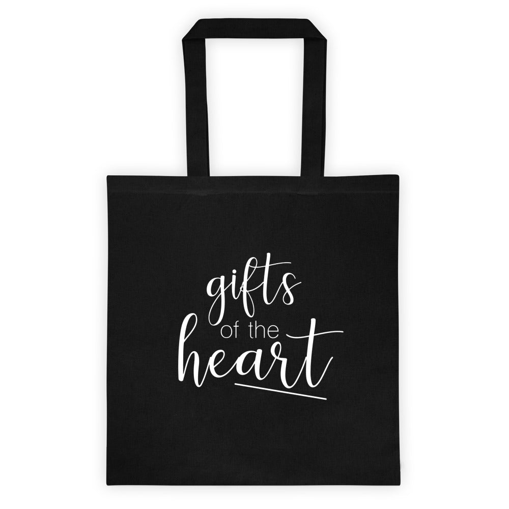 black tote bag with gifts of the heart in script