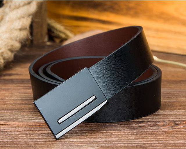 """Slick"" Men's Leather Belt in Black"