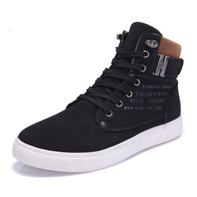 men's casual fashion lace-up black sneaker with ankle clasp