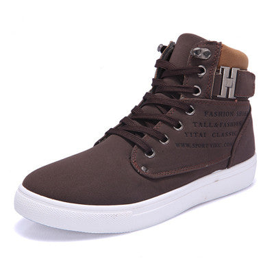 men's casual fashion lace-up brown sneaker with ankle clasp