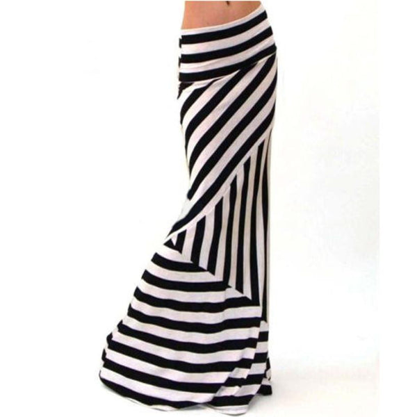 Asymmetric Striped Women's Maxi Skirt dropped foldover waist.