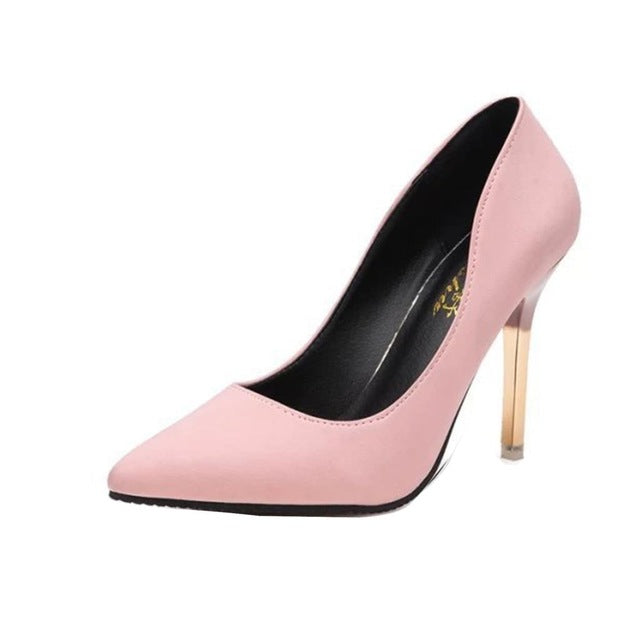 women's pink pump with thin gold heel