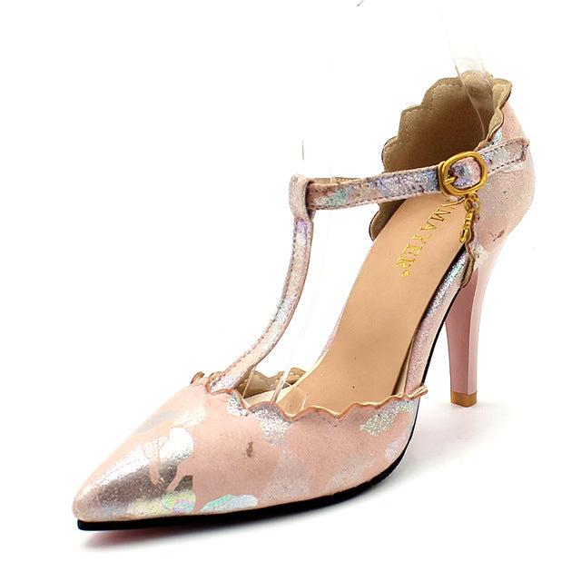 women's shimmer high heel with t-strap and buckle embellishment in pink