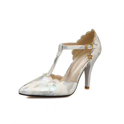 women's shimmer high heel with t-strap and buckle embellishment in white