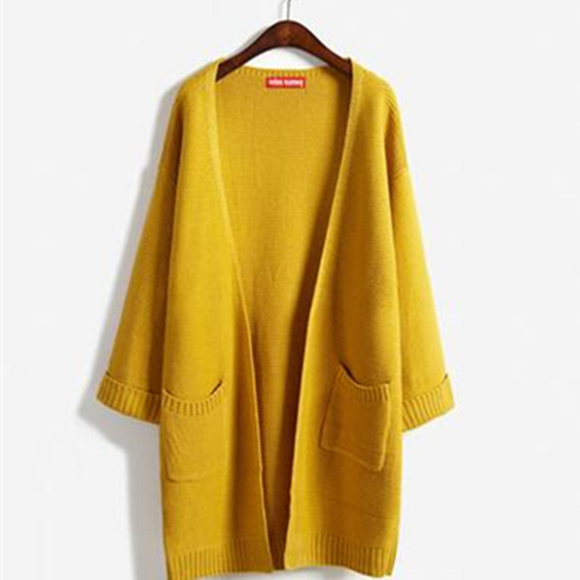 """Loose Layers"" Women's Long Sweater in Mustard"