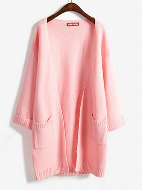 """Loose Layers"" Women's Long Sweater in Pink"