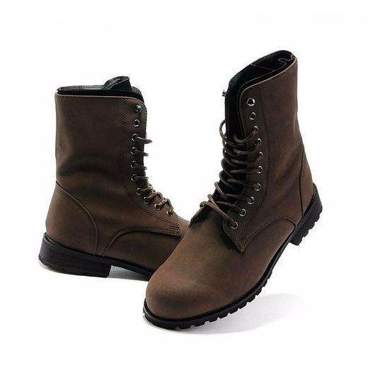 men's lace-up combat mid-ankle boot with low heel in brown
