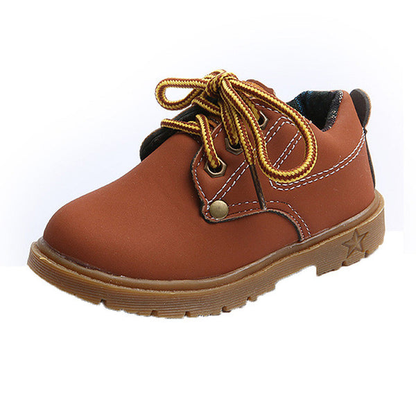 """At Work"" Kids Boots in Brown"