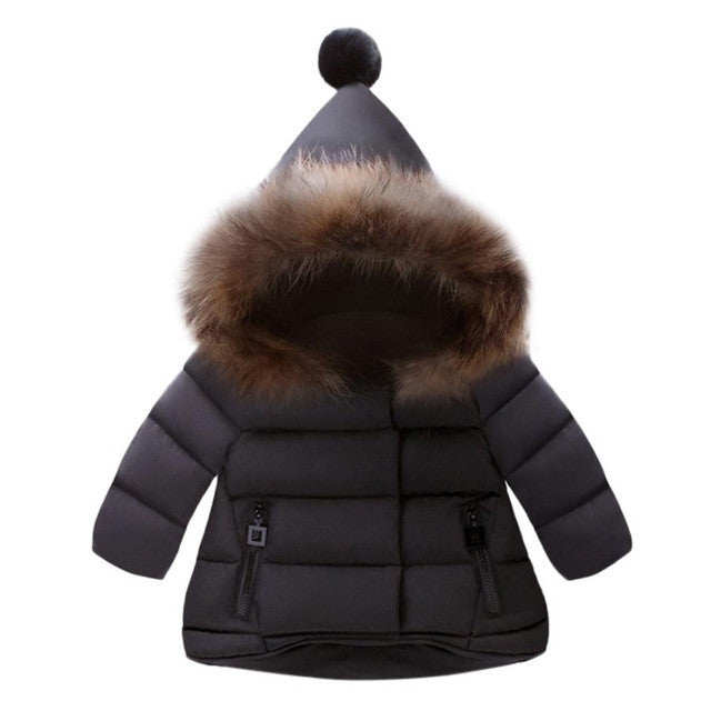 """Furry Pom Pom"" Baby Jacket in Black"
