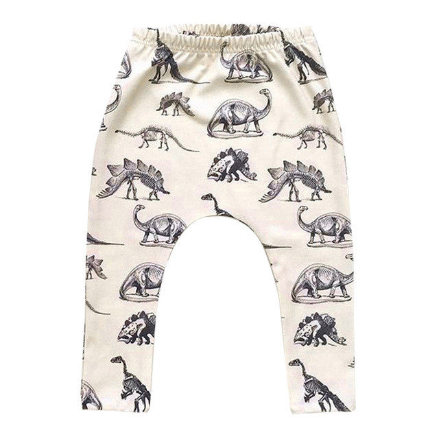 adorable baby pant in beige with dinosaur print allover