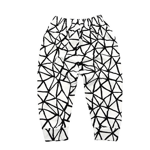 unisex baby harem pants with elastic band waist, black and white web pattern