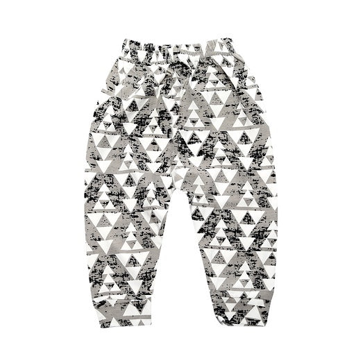 unisex baby harem pants with elastic band waist, black and grey triangle pattern