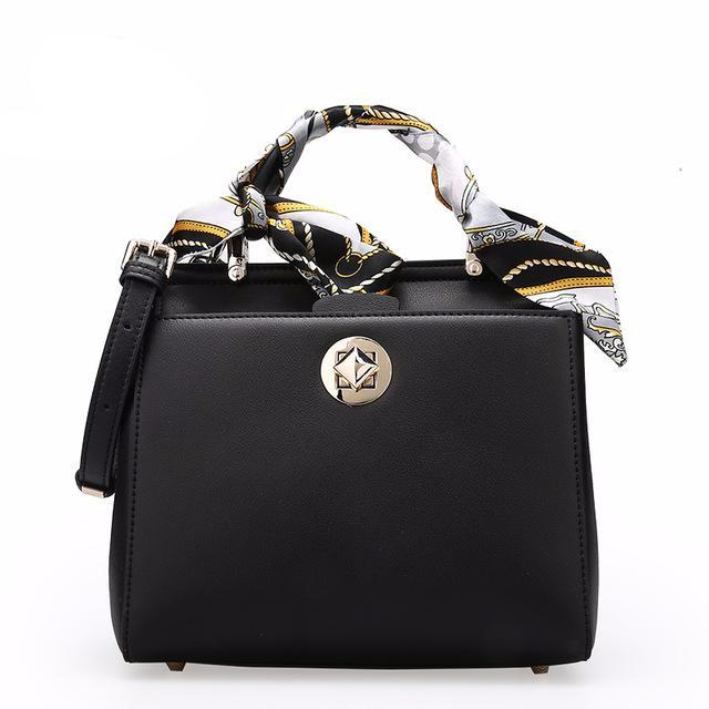 women's small leather bag with scarf on handle in black