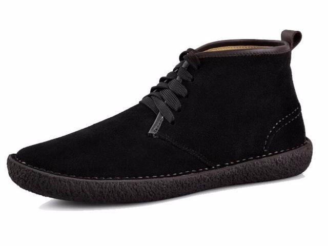 men's black suede lace-up low rise winter boot