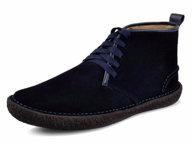 men's blue suede lace-up low rise winter boot