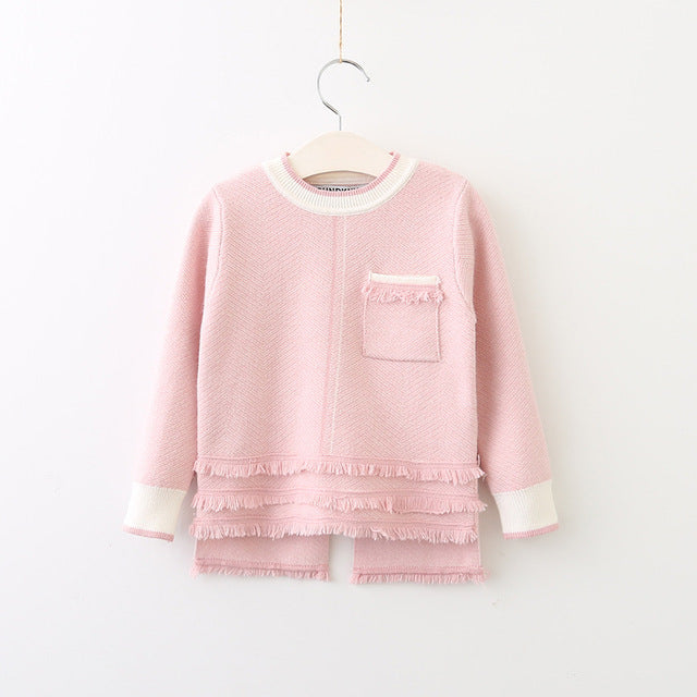 """Little Channel"" Kids Skirt & Sweater Play Set in Pink"