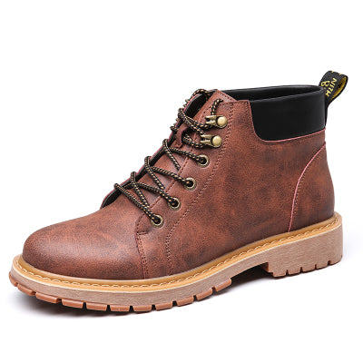 men's lace-up combat ankle boot in brown
